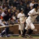 San Francisco Giants' Brandon Belt singles during the seventh inning of a baseball game against the Washington Nationals on Monday, May 20, 2013 in San Francisco. (AP Photo/Marcio Jose Sanchez)