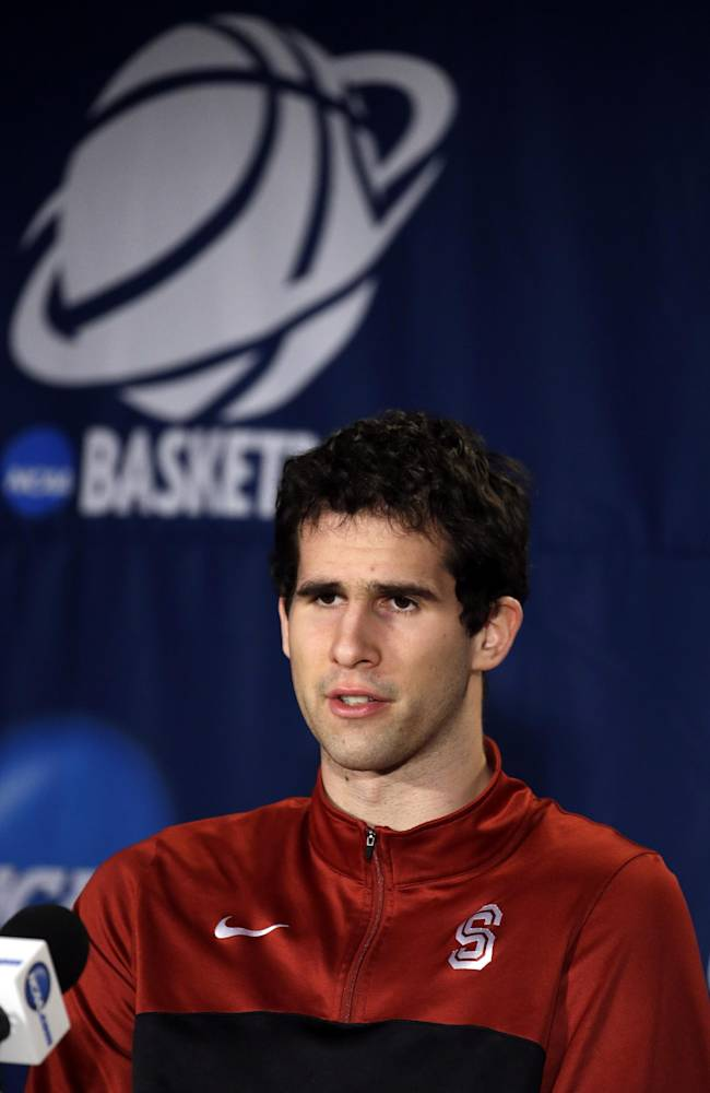 Stanford's Stefan Nastic speaks during a news conference during a news conference at the NCAA college basketball tournament Saturday, March 22, 2014, in St. Louis. Stanford plays Kansas in a third-round game on Sunday