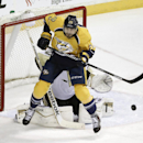 Nashville Predators forward Viktor Stalberg (25), of Sweden, jumps out of the way of a shot against Pittsburgh Penguins goalie Marc-Andre Fleury in the second period of an NHL hockey game Tuesday, March 4, 2014, in Nashville, Tenn The Associated Press