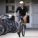 Minnesota Vikings quarterback Matt Cassel arrives at an NFL football training camp on a bike, Friday, July 25, 2014, in Mankato, Minn The Associated Press