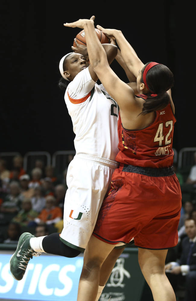 Thomas, No. 9 Maryland women defeat Miami, 67-52