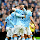 Manchester City's Stevan Jovetic, left, celebrates scoring against Southampton with teammate Samir Nasri during the English Premier League soccer match between Manchester City and Southampton at The Etihad Stadium, Manchester, England, Saturday, April 5,