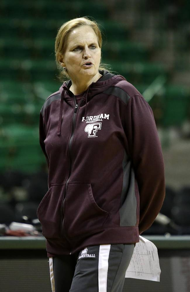 Fordham coach Stephanie Gaitley instructs her team during practice for the NCAA women's college basketball tournament, Friday, March 21, 2014, in Waco, Texas. Fordham plays against California in a first-round game on Saturday