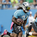 Carolina Panthers' DeAngelo Williams runs upfield during an NFL football practice at the team's Fan Fest in Charlotte, N.C., Friday, July 25, 2014. (AP Photo) The Associated Press