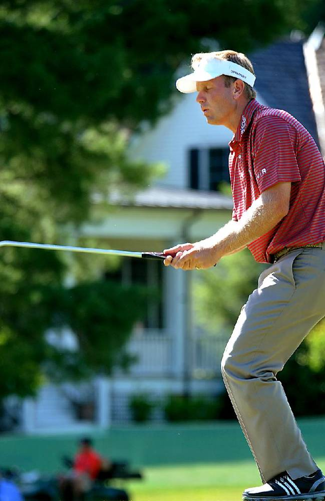 Billy Hurley III reacts after a missed putt on the 14th green during the third round of the Greenbrier Classic golf tournament at the Greenbrier Resort in White Sulphur Springs, W.Va., Saturday, July 5, 2014