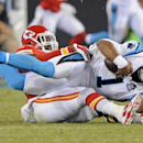 Carolina Panthers' Cam Newton, front, is sacked by Kansas City Chiefs' Josh Mauga, back, during the first half of a preseason NFL football game in Charlotte, N.C., Sunday, Aug. 17, 2014 The Associated Press