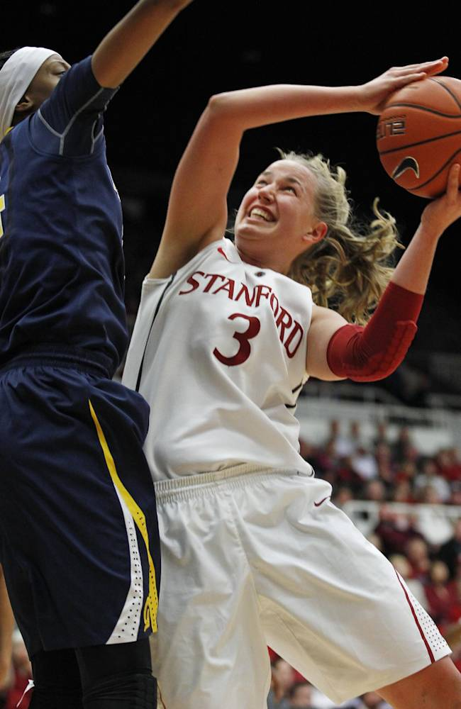 Stanford's Mikaela Ruef (3) shoots as California's Courtney Range defends during the second half of an NCAA college basketball game, Thursday, Jan. 30, 2014 in Berkeley, Calif