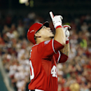 Washington Nationals' Wilson Ramos (40) celebrates as he comes home on his solo home during the sixth inning of a baseball game against the San Francisco Giants at Nationals Park, Sunday, July 5, 2015, in Washington. (AP Photo/Alex Brandon)