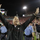 Georgia head coach Mark Richt celebrates after their 17-9 win over Florida in an NCAA college football game against Georgia, Saturday, Oct. 27, 2012 in Jacksonville, Fla. (AP Photo/Stephen Morton)