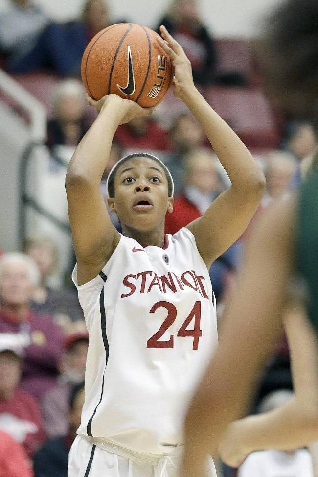 Stanford's Erica McCall (24) pulls up for a shot against Cal Poly during the second half of an NCAA college basketball game in Stanford, Calif., Friday, Nov. 15, 2013. Stanford won 86-51