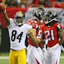 Pittsburgh Steelers wide receiver Antonio Brown(84) celebrates making a first down reception against Atlanta Falcons cornerback Desmond Trufant (21) during the first quarter of the NFL football game on Sunday, Dec. 14, 2014, in Atlanta The Associated Pres