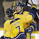 Nashville Predators forward Patric Hornqvist, top, of Sweden, is congratulated by Matt Cullen (7) after scoring against the Phoenix Coyotes in the third period of an NHL hockey game on Thursday, April 10, 2014, in Nashville, Tenn The Associated Press