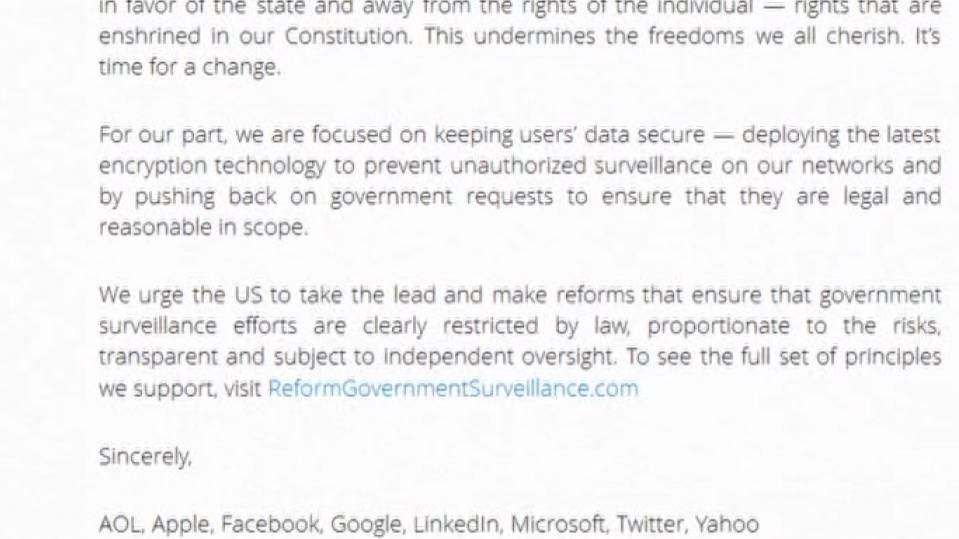 Major U.S. web companies demand tighter controls on governments personal data...