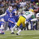 Buffalo Bills kicker Dan Carpenter (2) kicks a field goal past Green Bay Packers' Sam Shields (37) during the second half of an NFL football game Sunday, Dec. 14, 2014, in Orchard Park, N.Y The Associated Press