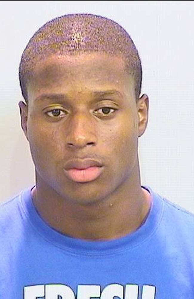 University of Alabama running back Kenyan Drake is seen in an undated photo provided by the Tuscaloosa Police Department. Police say Drake was arrested after he entered a crime scene. Tuscaloosa police spokesman Sgt. Brent Blankley says Drake's vehicle was parked in a crime scene where a shooting had taken place just before 1 a.m. Blankley says Drake became upset when officers told him he couldn't enter the area and went through crime scene tape to get to his vehicle. Officers immediately arrested him