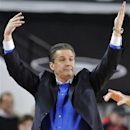 Kentucky head coach John Calipari yells to his team from the sidelines during the first half of an NCAA college basketball game against Georgia in Athens, Ga., Thursday, March 7, 2013. (AP Photo/The Athens Banner-Herald, AJ Reynolds)