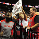 James Harden #13 of the Houston Rockets runs out onto the court before Game Four of the Western Conference Quarterfinals against the Portland Trail Blazers during the 2014 NBA Playoffs at the Moda Center on April 27, 2014 in Portland, Oregon. (Photo by Steve Dykes/Getty Images)