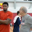 LAS VEGAS, NV - JULY 29: Rudy Gay and Jim Boeheim talk before the USA Mens Basketball practice at the Mendenhall Center at the University of Nevada, Las Vegas on July 29, 2014 in Las Vegas, Nevada. (Photo by Andrew D. Bernstein/NBAE via Getty Images)