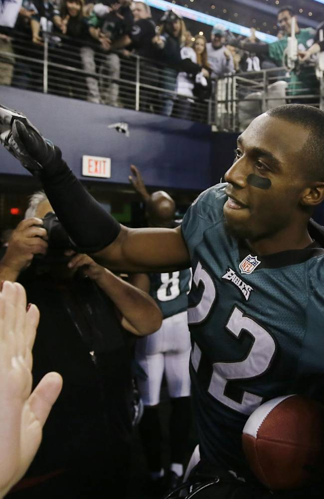 Philadelphia Eagles cornerback Brandon Boykin (22) leaves the field after an NFL football game against the Dallas Cowboys, Sunday, Dec. 29, 2013, in Arlington, Texas. The Eagles won 24-22