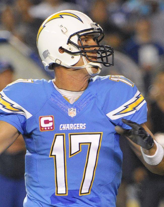 San Diego Chargers quarterback Philip Rivers throws a pass against the Indianapolis Colts during the first half of an NFL football game Monday, Oct. 14, 2013, in San Diego
