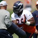 Denver Broncos defensive tackle Terrance Knighton takes part in drills during a morning session at the team's NFL football training camp in Englewood, Colo., on Friday, July 25, 2014. (AP Photo) The Associated Press