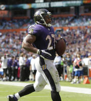 Baltimore Ravens running back Ray Rice (27) runs in a touchdown during the second half of an NFL football game against the Miami Dolphins, Sunday, Oct. 6, 2013, in Miami Gardens, Fla. (AP Photo/Wilfredo Lee)