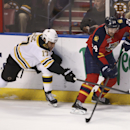 Boston Bruins' MIlan Lucic (17) tries to steal the puck from Florida Panthers' Brad Boyes (24) during the first period of an NHL hockey game in Sunrise, Fla., Sunday, March 9, 2014 The Associated Press