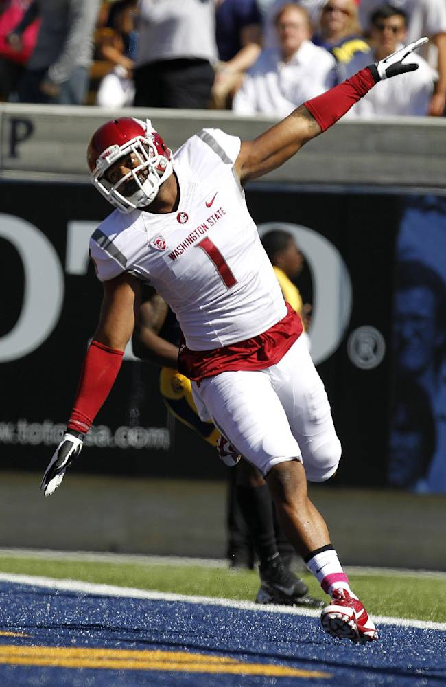 Washington State wide receiver Vince Mayle (1) celebrates after a touchdown against California during the first half of an NCAA college football game in Berkeley, Calif., Saturday, Oct. 5, 2013