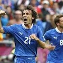 Italy's Andrea Pirlo celebrates his goal against Croatia during their Group C Euro 2012 soccer match at city stadium in Poznan, June 14, 2012. REUTERS/Tony Gentile