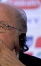 FIFA President Joseph S. Blatter holds a press conference in Rio de Janeiro, Brazil, Thursday, June 13, 2013. The FIFA leader briefed the media on preparations for the Confederations Cup just two days before the Saturday opening match between Brazil and Japan in Brasilia. (AP Photo/Silvia Izquierdo)