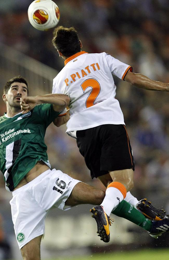 Valencia's Pablo Piatti from Italy  jumps for the ball above St Gallen's Matias Vitkieviez   during their Europa  League Group A soccer match at the Mestalla stadium in Valencia, Spain, Thursday , Oct. 24, 2013
