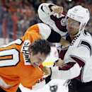 Philadelphia Flyers' Brayden Schenn (10), left, and Colorado Avalanche's Jarome Iginia (12), right, fight in the second period of their NHL hockey game, Saturday, Nov. 8, 2014, in Philadelphia The Associated Press