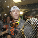 San Francisco Giants' Tim Hudson celebrates after Game 7 of baseball's World Series against the Kansas City Royals, Wednesday, Oct. 29, 2014, in Kansas City, Mo. The Giants won 3-2 to win the series The Associated Press