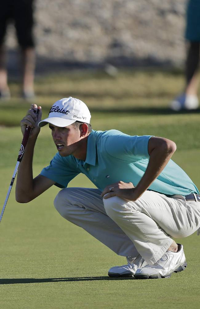 Chesson Hadley lines up a putt on the 15th green in the third round of the Shriners Hospitals for Children Open golf tournament, Saturday, Oct. 19, 2013, in Las Vegas