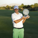 Ben Martin poses for photographers after winning the Shriners Hospitals for Children Open golf tournament Sunday, Oct. 19, 2014, in Las Vegas. (AP Photo/John Locher)