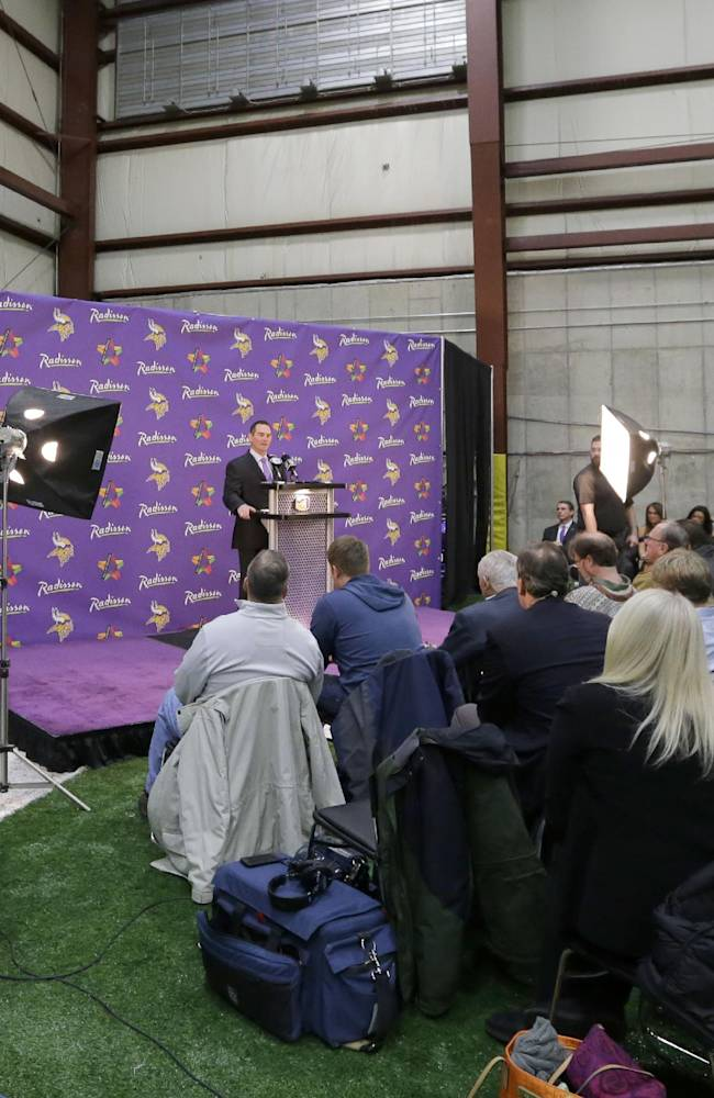 New Minnesota Vikings head coach Mike Zimmer answers a question during an NFL football media availability at Winter Park in Eden Prairie, Minn., Friday, Jan. 17, 2014. Zimmer is the ninth head coach in the Vikings franchise history