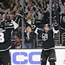 Los Angeles Kings' Jarret Stoll, right, celebrates his goal with teammate Drew Doughty in overtime of an NHL hockey game against the Anaheim Ducks, Saturday, Nov. 15, 2014, in Los Angeles. The Kings won 3-2 in overtime The Associated Press