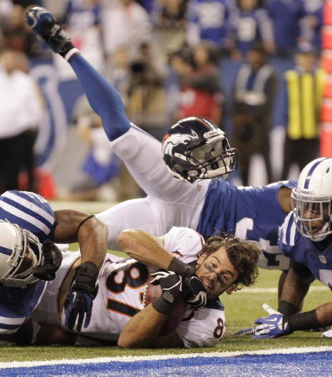 Denver Broncos wide receiver Eric Decker (87) loses his helmet as he makes a reception against Indianapolis Colts defense during the second half of an NFL football game, Sunday, Oct. 20, 2013, in Indianapolis