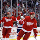 Detroit Red Wings' David Legwand, right, celebrates his goal along with teammate Daniel Alfredsson, left, of Sweden, during the second period of an NHL hockey game against the Tampa Bay Lightning, Sunday, March 30, 2014, in Detroit The Associated Press