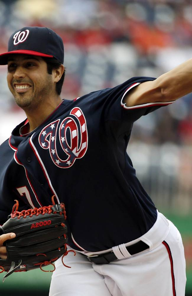 Washington Nationals starting pitcher Gio Gonzalez (47) throws during the first inning of a baseball game against the New York Mets at Nationals Park Saturday, May 17, 2014, in Washington