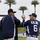 Detroit Tigers baseball Hall of Famer Al Kaline (6) talks with Tigers manager Brad Ausmus during batting practice before an exhibition spring training baseball game between the Tigers and the Pittsburgh Pirates in Lakeland, Fla., Tuesday, March 4, 2014 Th
