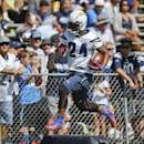 San Diego Chargers running back Ryan Mathews hurdles obstacles during drills at a NFL football training camp Thursday, July 24, 2014, in San Diego The Associated Press