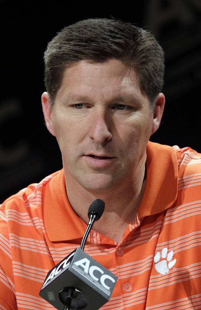 Clemson coach Brad Brownell speaks during the Atlantic Coast Conference NCAA college basketball media day in Charlotte, N.C., Wednesday, Oct. 17, 2012