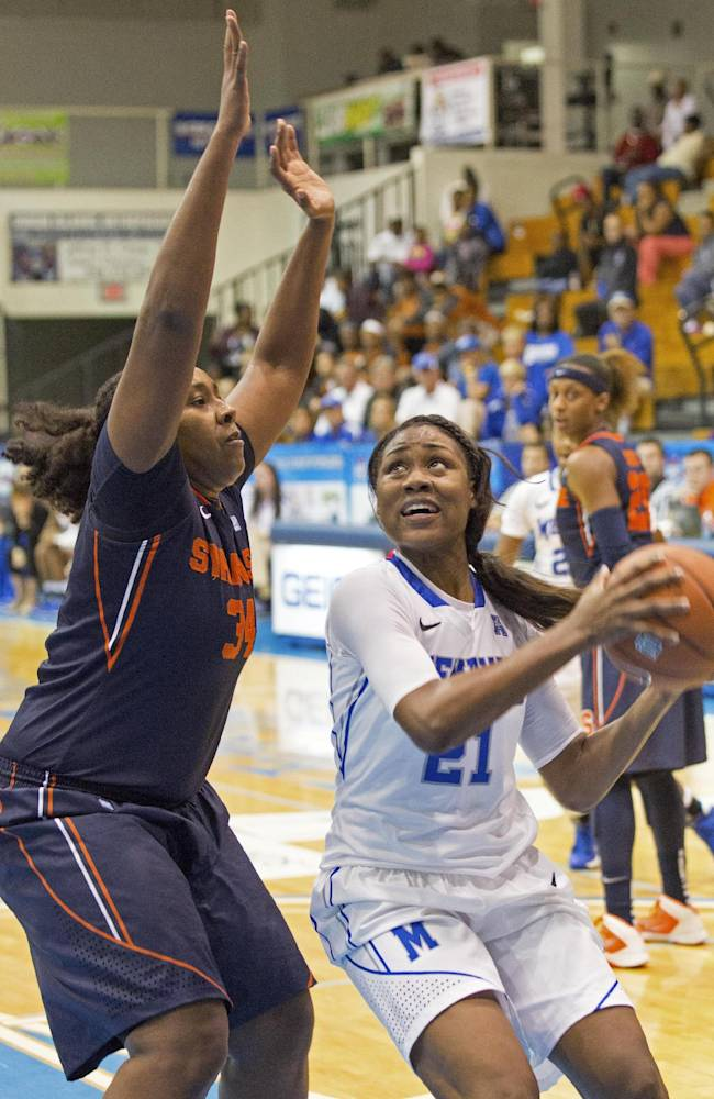 Memphis' Asianna Fuqua-Bey drives to the basket guarded by Syracuse' Shakeya Leary during the first half of an NCAA college basketball game in St. Thomas, U.S. Virgin Islands, Friday, Nov. 29, 2013
