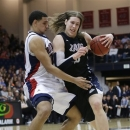 Gonzaga's Kelly Olynyk, right, tries to move past St. Mary's Brad Waldow during the first half of an NCAA college basketball game in Moraga, Calif., Thursday, Feb. 14, 2013. (AP Photo/Marcio Jose Sanchez)