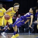 California's Layshia Clarendon, left, drives against LSU's Adrienne Webb in the first half of a regional semifinal game in the NCAA women's college basketball tournament Saturday, March 30, 2013, in Spokane, Wash. (AP Photo/Elaine Thompson)