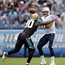 Tennessee Titans quarterback Charlie Whitehurst (12) gets a throw off as he is pressured by Jacksonville Jaguars defensive end Andre Branch (90) in the first quarter of an NFL football game Sunday, Oct. 12, 2014, in Nashville, Tenn The Associated Press