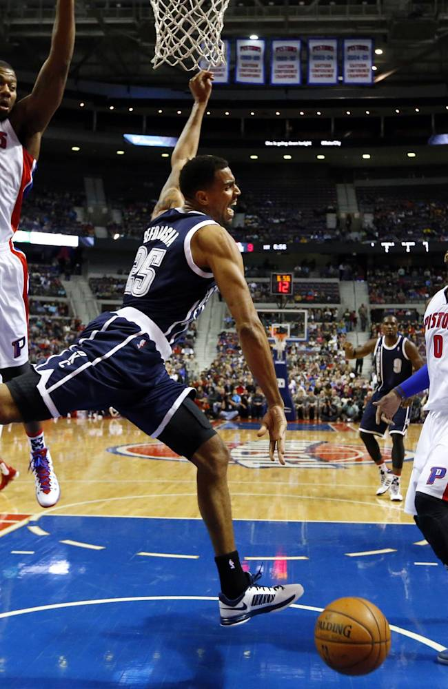 Oklahoma City Thunder guard Thabo Sefolosha (25) loses the ball driving on Detroit Pistons guard Chauncey Billups (1), Greg Monroe (10) and Andre Drummond (0) in the first half of an NBA basketball game in Detroit, Friday, Nov. 8, 2013