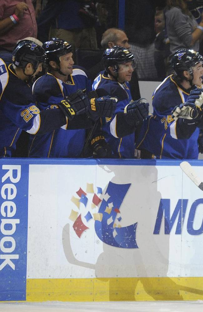 St. Louis Blues' Vladimir Sobotka (17), of the Czech Republic, is congratulated by the Blues' bench after his goal against the Nashville Predators during the first period of an NHL hockey game Thursday, Oct. 3, 2013, in St. Louis