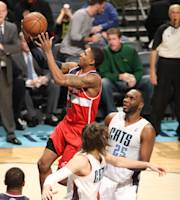 CHARLOTTE, NC - JANUARY 7: Bradley Beal #3 of the Washington Wizards shoots against the Charlotte Bobcats during the game at the Time Warner Cable Arena on January 7, 2014 in Charlotte, North Carolina. (Photo by Kent Smith/NBAE via Getty Images)